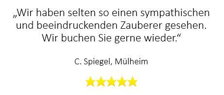 Tolle Bewertung für Zauberer bei Jubiläumsfeier in Mülheim